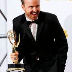 Aaron Paul receiving Prime Time Emmy Award