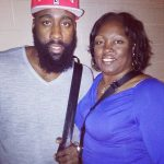 James Harden with his mother