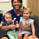 Clayton Kershaw with his children