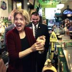 Elizabeth Warren drinking beer
