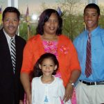 Russell Wilson with his parents and sister
