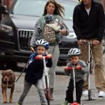 Tom Brady with his wife and children
