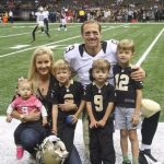 Drew Brees with his wife and children