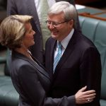Julie Bishop embracing Kevin Rudd