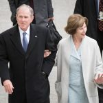George Bush With His Wife Laura Bush
