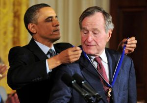 George H W Bush With Presidential Medal of Freedom