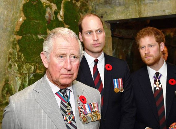 Prince Harry with his father and brother