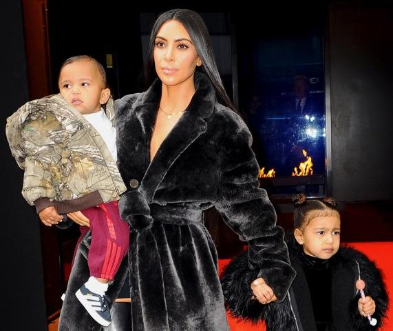 Kim Kardashian with her children