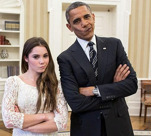 McKayla Maroney and Barack Obama with not impressed meme