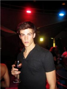 Grant Gustin drinking alcohol