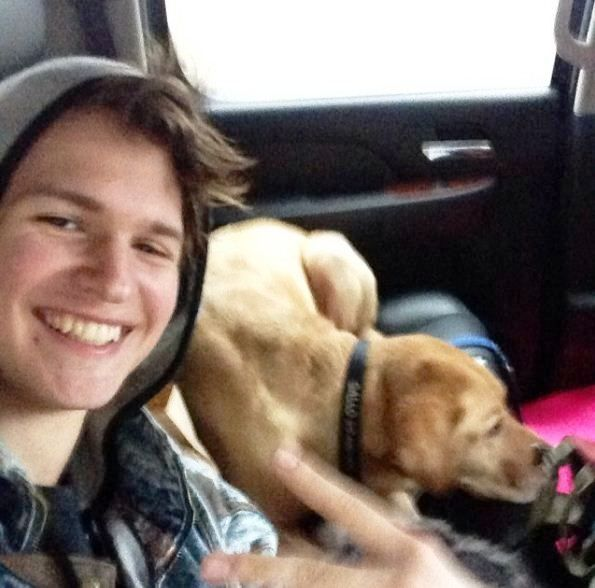 Ansel Elgort With His Dog Galo