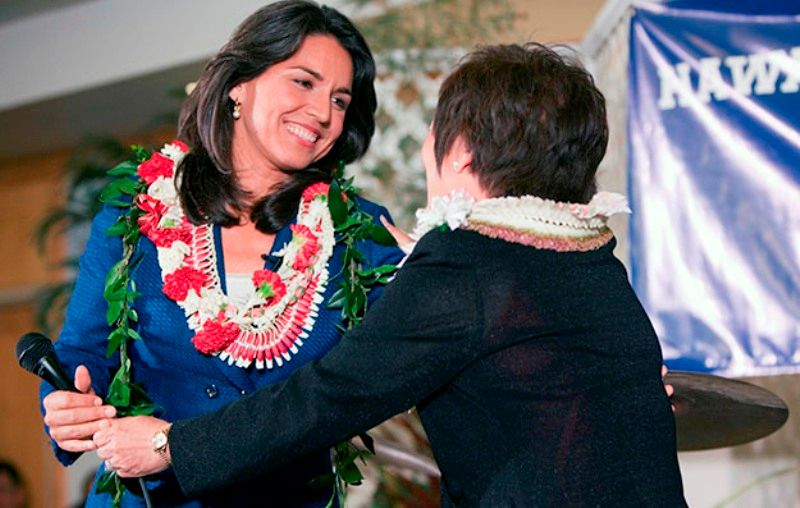 Tulsi Gabbard after winning theUnited States House of Representatives elections in Hawaii