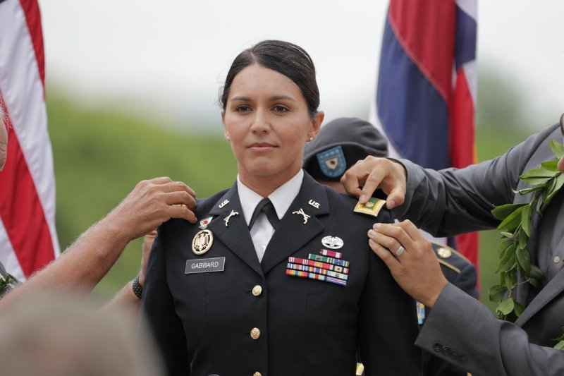 Tulsi Gabbard promoted to the post of Major at a ceremony at the National Memorial Cemetery of the Pacific