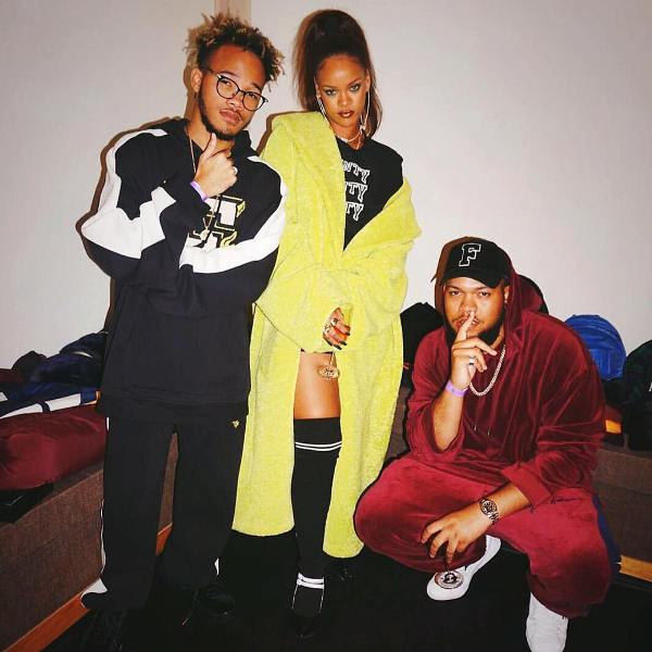 Rajad Fenty (left), Rihanna (center), and Rorrey Fenty (right)