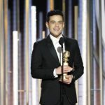 Rami Malek with his Golden Globe Award