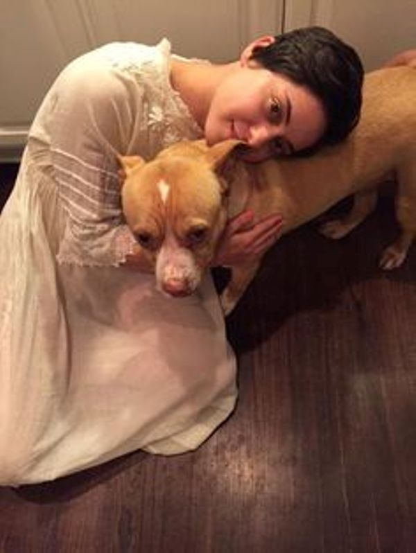 Rosa Salaza With Her Pit Bull Dog