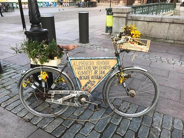 Greta Thunberg's Bicycle Standing Outside The Swedish Parliament