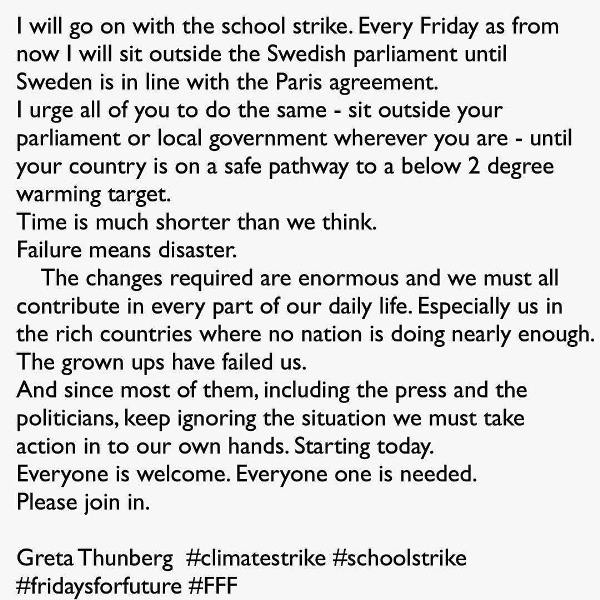 Greta Thunberg's Instagram Post About Her School Strike