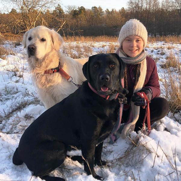 Greta Thunberg With Her Pet Dogs