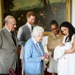 Prince Harry and Meghan, Duchess of Sussex, joined by her mother Doria Ragland, show their new son to Queen Elizabeth II and Prince Philip at Windsor Castle, Windsor, England