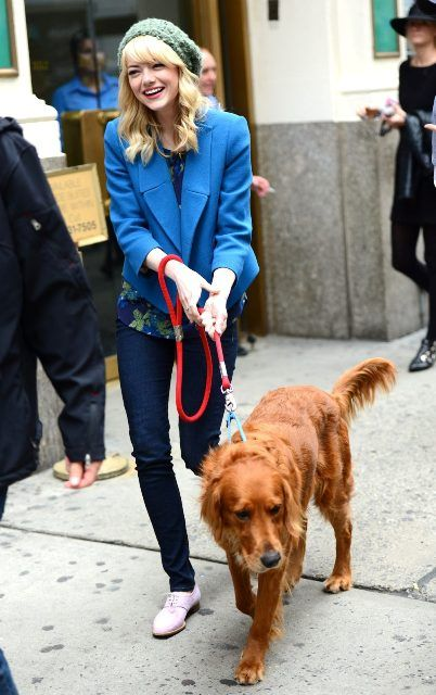 Emma Stone with her dog