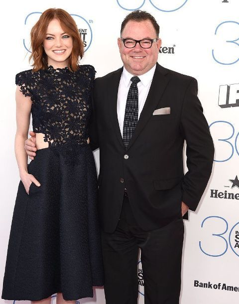 Emma Stone with her father