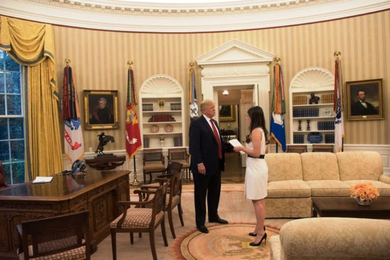 Madeleine Westerhout With Donald Trump in the Oval Office