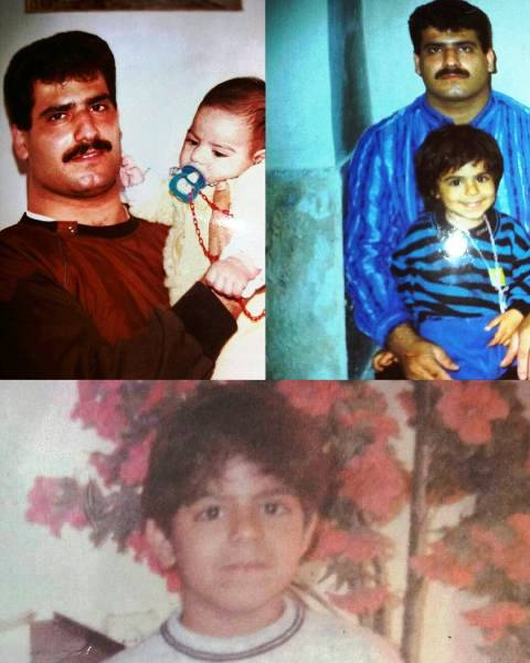 Childhood photo of Sajad Gharibi with his father