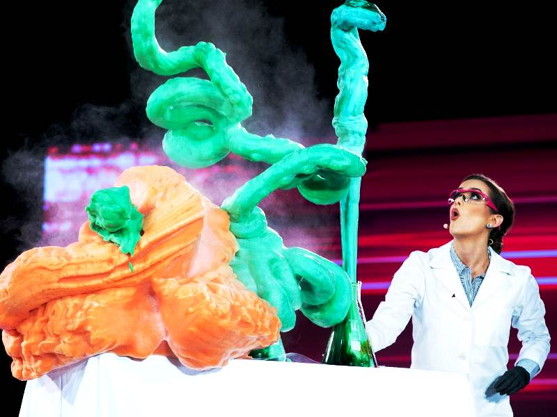 Camille Schrier performing her science experiment during the talent round of Miss America 2020