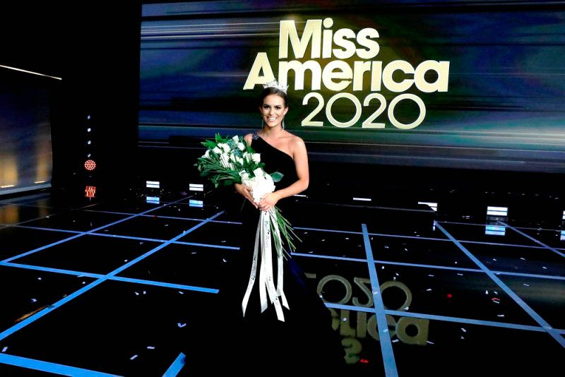 Camille Schrier posing after winning the Miss America 2020 title
