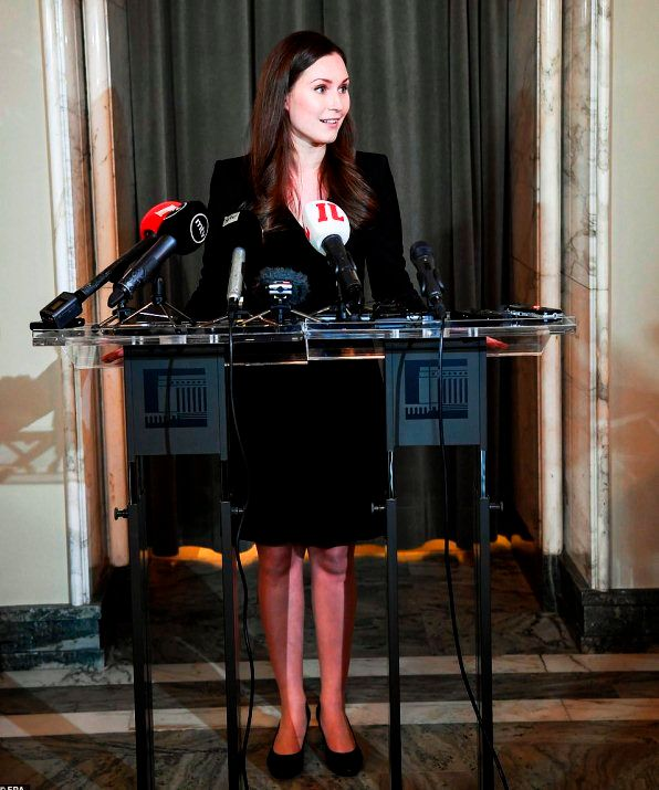 Sanna Marin addressing the press for the first time after becoming the Prime Minister of Finland
