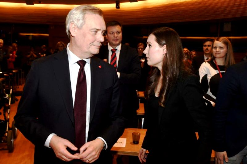 Sanna Marin with former Finland Prime Minister Antti Rinne