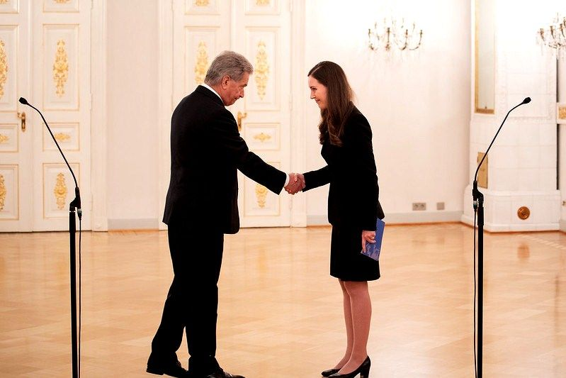 Sanna Marin with the President of Finland Sauli Niinisto after taking oath as the Prime Minister of Finland