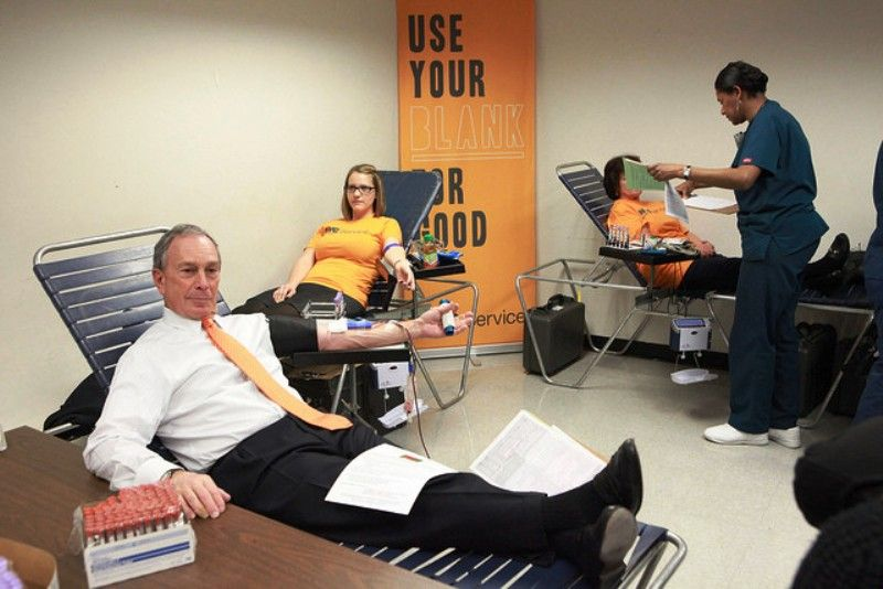 Bloomberg donates blood in Mayor Office Blood Drive in New York