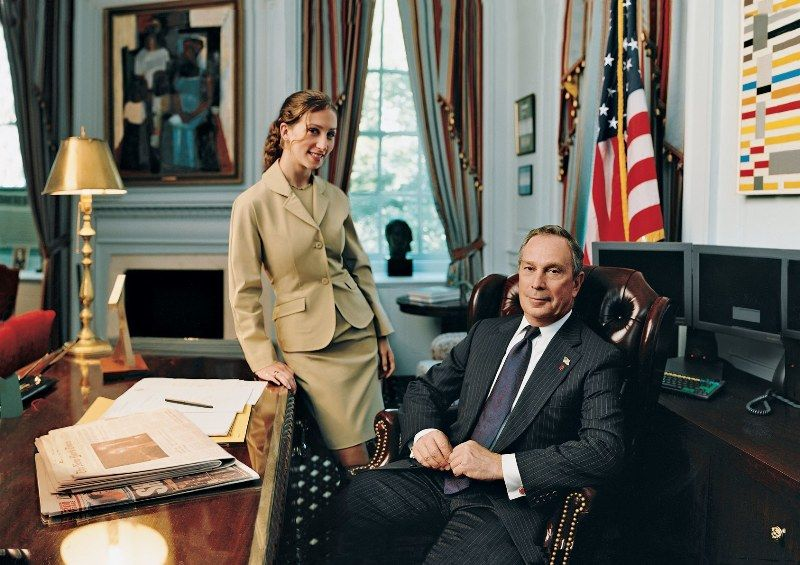 Emma Bloomberg, with her father Michael Bloomberg at his office, in 2002