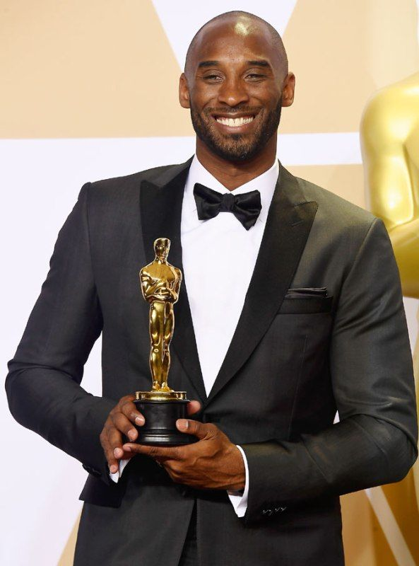 Kobe Bryant with his Academy Award