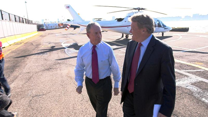Michael Bloomberg Walking out of His Helicopter