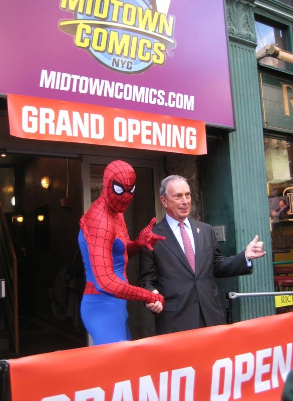 Michael Bloomberg at the opening of Midtown Comics in New York City