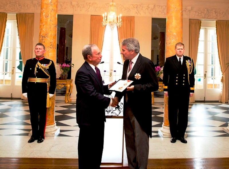 Michael Bloomberg being awarded with Knight Commander of the Order of the British Empire