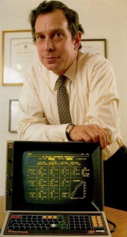 Michael Bloomberg with an early version of the Bloomberg Terminal