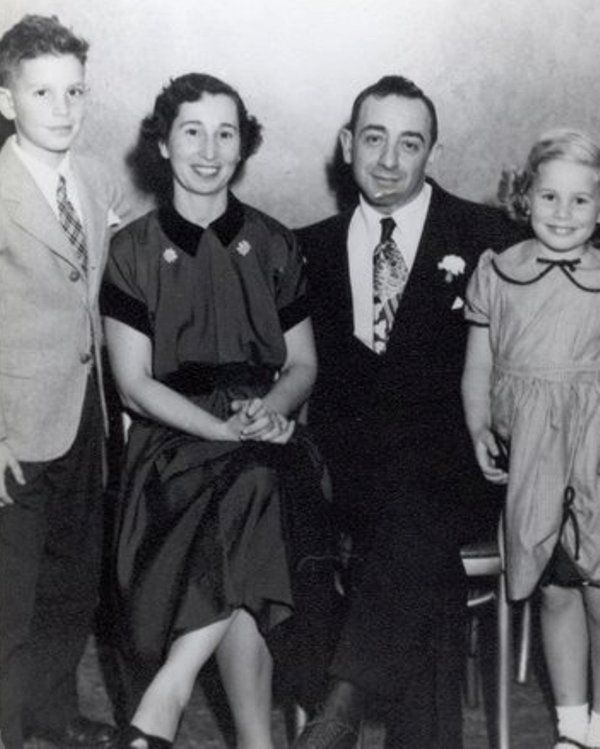 Michael R. Bloomberg (left) with his mother, Charlotte; father, William; and sister, Marjorie, in an undated photo