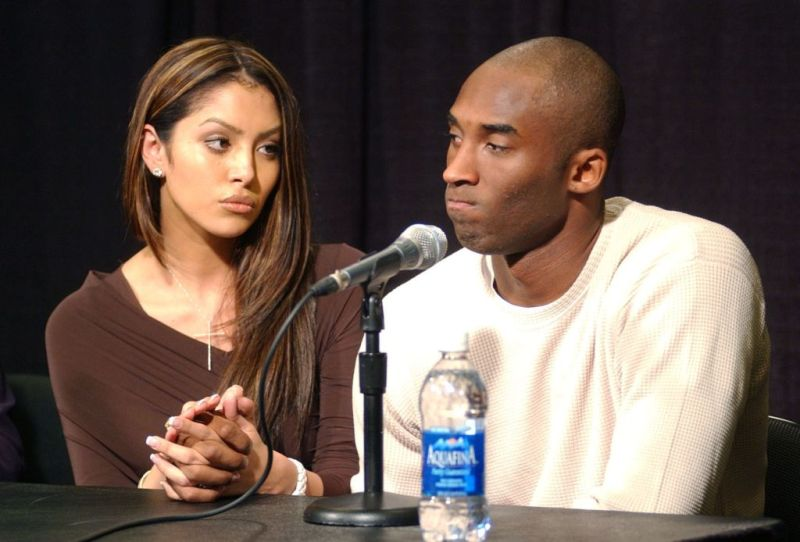 Vanessa Laine Bryant and Kobe Bryant addressing a press conference on the sexual assault case againt Kobe