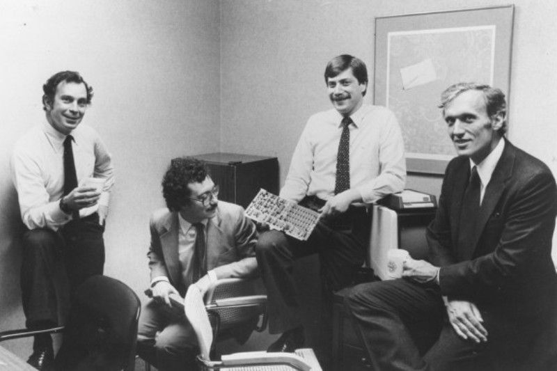 from left, Michael Bloomberg, Charles Zegar, Tom Secunda, and Duncan MacMillan in 1982