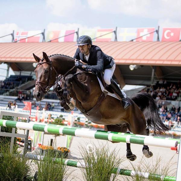 Nayel Nassar with his Horse Lucifer V during a jump show in the 1m55 GP qualifier in Valkenswaard