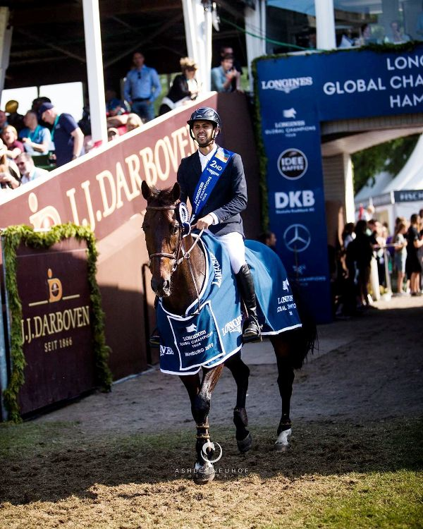 Nayel nassar with his horse Lucifer V in Longlines Global Champions Tour at Hamburg