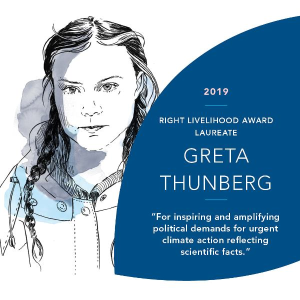 Greta Thunberg Right Livelihood Award 2019