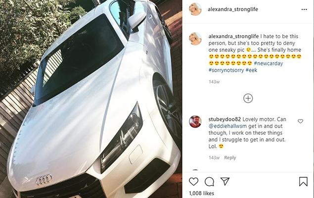 Alexandra Hall talking about her Audi in an Instagram post