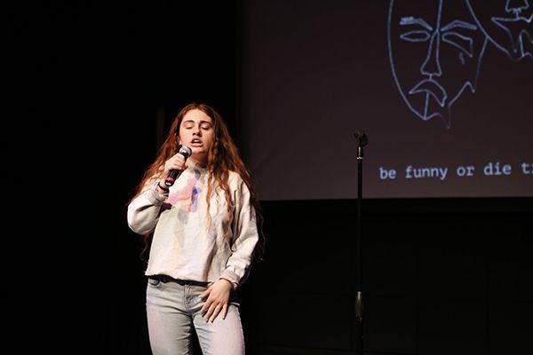 Rachel Sennott during a stand up show