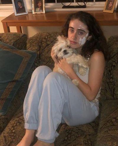 Rachel Sennott with her pet dog