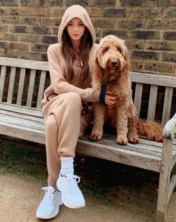 Eleanor Calder with her dog, Bruce